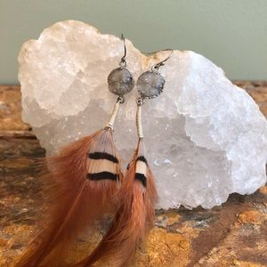 Quartz and Feather Earrings